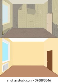Vector illustration. room before and after renovation. room with dirty, torn wallpaper. Clean room after repair