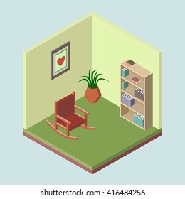 vector illustration, room, bookcase, flower pot, rocking chair, isometric 3d icon for web and infographics