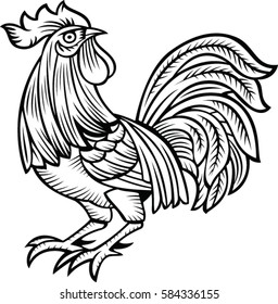 Vector illustration of rooster, black and white style