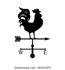 Vector illustration rooster weather vane. Black silhouette rooster, cock. Weather vane symbol, icon