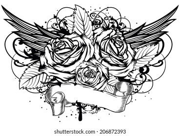 Vector illustration roses wings and patterns