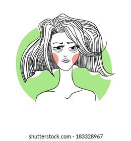 Vector illustration rosy girl on a green background