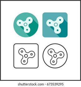 vector illustration rotation spinners icon set. Anti nervousness, stress, psychosomatic disorder. Flat colorful creative web design. Techniques: gradient,drawn, lines. Classical common form.