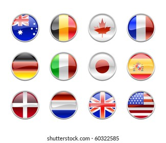 Vector Illustration of round buttons set, decorated with the flags of the world (G12).