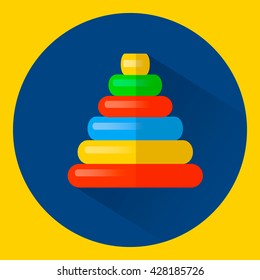 vector illustration round colored child's toy Pyramid