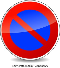 Vector illustration of round do not park sign on white background