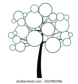 vector illustration of round empty frames on branches of tree for diagram or chart template with free space for text