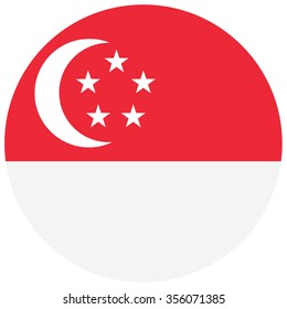 Vector illustration round flag of Singapore country. Singaporean flag. Button or badge