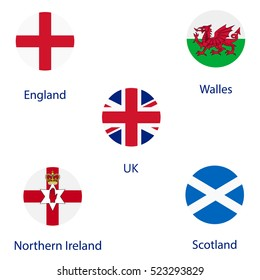 Vector illustration round flags of UK, England, Scotland, Wales and Northern Ireland.
