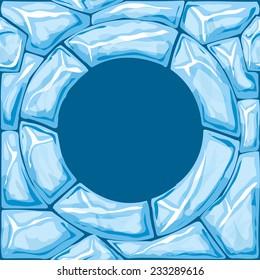 Vector illustration of round frame ice brick seamless pattern