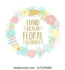 Vector illustration of a round frame made from cartoon hand-drawn floral elements. An image for decoration of postcards, invitations and interiors.