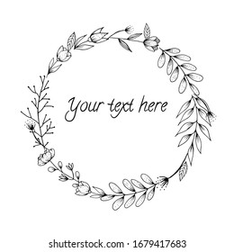 Vector illustration. Round frame template with flowers, twigs and leaves in the style of hand drawing in black and white.