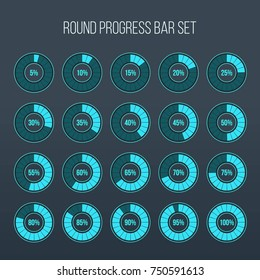 Vector illustration of round progress bar. Circle indicators status. Loading and buffering percentage icon set. Circular interval timer. Art design. Abstract concept graphic element. Accuracy dial