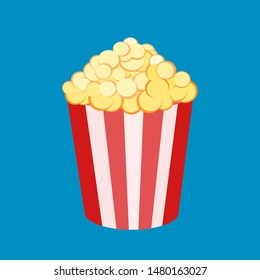 Vector illustration of a round striped popcorn box bucket with pop corn . Movie snack. Time to watch and eat. Isolated in white background. Flat clip-art