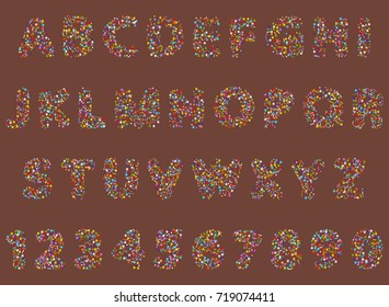 vector illustration of rounded font alphabet with bakery cookie and sprinkles topping stars, dots and lines