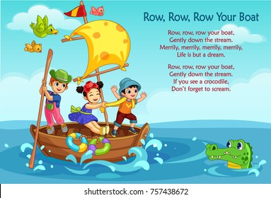 Vector illustration of 'Row, Row, Row Your Boat' poem