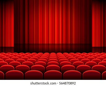 Vector illustration of Rows of red velvet seats of a dark cinema or theater hall
