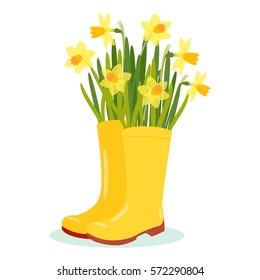 Vector illustration with rubber boot in flat style. Vector narcissus isolated on white background