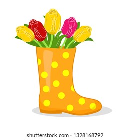 vector illustration of rubber boots with flowers