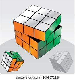 Vector illustration of Rubik's Cube. hong kong 25.01.2018
