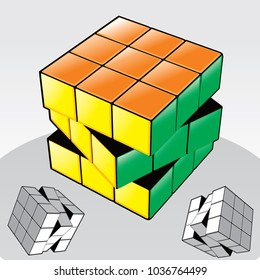 Vector illustration of Rubik's Cube. hong kong 02.03.2018