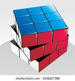 Vector illustration of Rubik's Cube. hong kong 02.03.2018