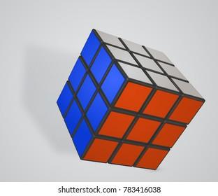 Vector illustration of Rubik's Cube. Minsk Belarus 29.12.2017
