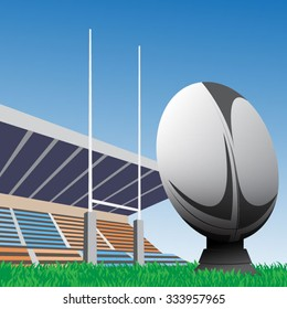 Vector illustration of rugby ball with field & goal posts in the background