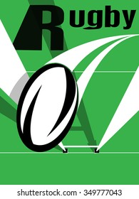 Vector illustration of a rugby ball going over the goal posts