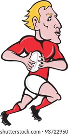 Vector illustration of a rugby player running with ball done in cartoon style on isolated background.