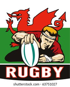"""vector illustration of a Rugby player scoring try viewed from front with wales or welsh  flag in background and words """"rugby"""""""