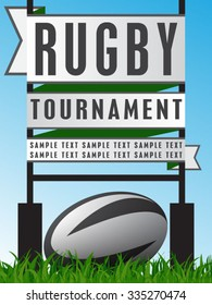 Vector illustration of rugby poster template