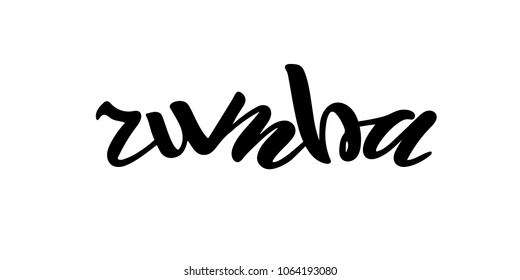 vector illustration of rumba text for shop logotype,postcard.Phrase for t-shirts,posters,card,invitation,banner template.Black hand painted lettering on white background.rumba typography poster.EPS 10
