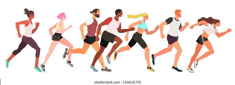 Vector illustration of runners running marathon or jogging isolated on a white background,