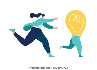 Vector illustration, running away idea, unattainable thought, search for new solutions, man catches up with a light bulb