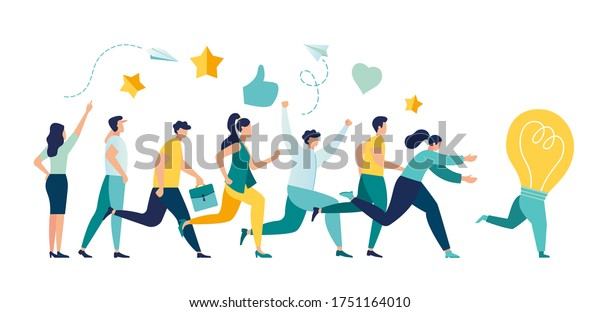 Vector illustration, running away idea, unattainable thought, search for new solutions, company of people catches up with a light bulb vector