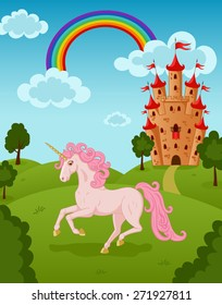 Vector illustration of running beautiful unicorn on the fairytale summer nature landscape with majestic rainbow, castle, meadow, trees, bush, clouds.