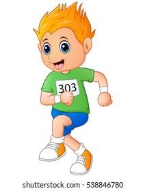 Vector illustration of Running boy cartoon