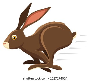 Vector illustration of a running brown rabbit.