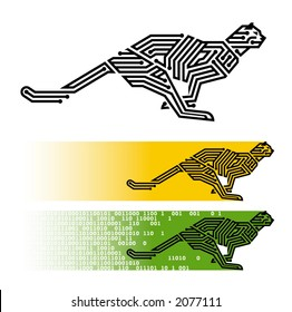 "vector illustration of running ""digital"" cheetah"