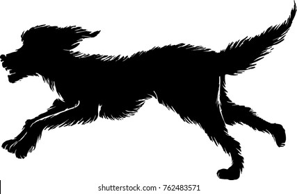 Vector illustration of running dog. Black animal silhouette with textured fur.