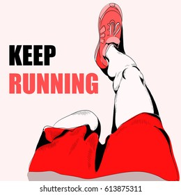 Vector illustration of running legs in red sneakers. Pink background. Keep running!