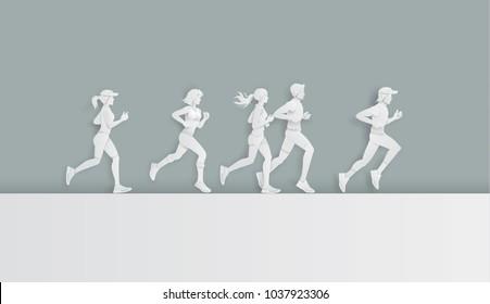 Vector illustration running marathon,Man and Woman running, Paper art and digital craft style.