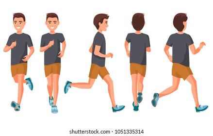 Vector illustration of running young man in casual clothes .Cartoon realistic people illustration.Flat young woman.Front, side and back views. Isometric views. Sportive woman. Sport, training, run.