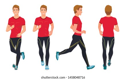 Vector illustration of running young man in sportive clothes. Cartoon realistic people illustration. Front, side and back views. Isometric views. Sportive man. Sport, training, run.