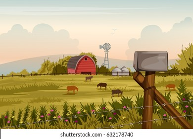 vector illustration of rural farm landscape with windmill