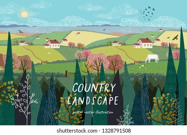 Vector illustration of a rural landscape or farm with houses, pets, trees and grass. Freehand drawing of a sunny summer day in the village.