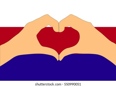 Vector illustration of Russia flag and hands making a heart shape.