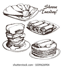 Vector illustration of Russian blini, hand drawn sketch. For Shrovetide Maslenitsa card