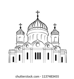 vector illustration Russian orthodox church. temple of christ the savior moscow